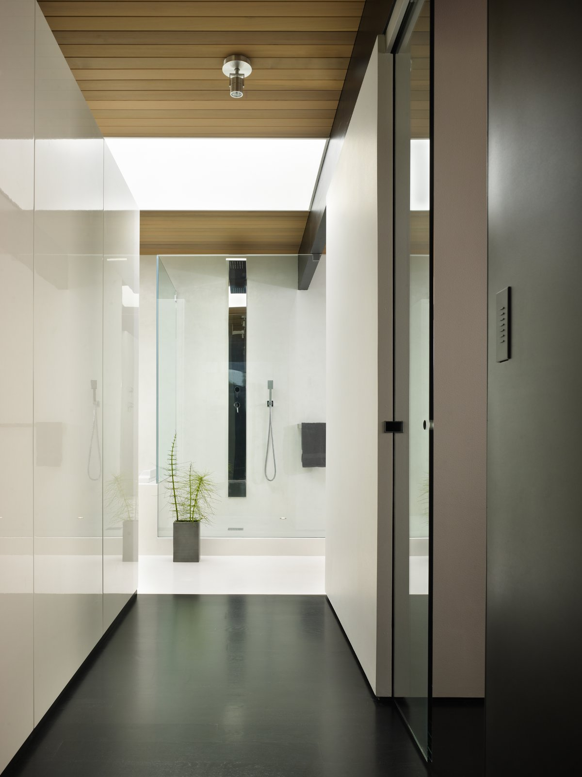 Master Bathroom hall  Wood Block Residence by chadbourne + doss architects