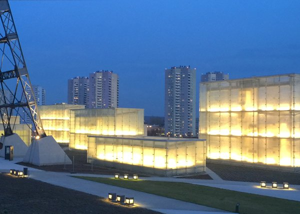 Modern home with outdoor. Illuminated from the inside Photo  of Silesian Museum Katowice