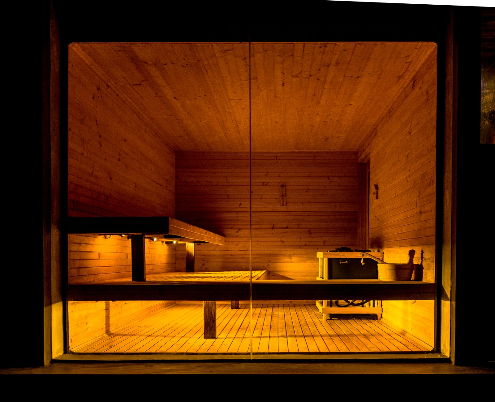 Sauna with a glass window to the nature