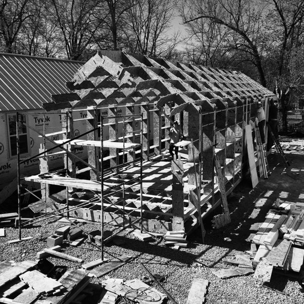 On-site assembly. The structural frame was installed using only rubber mallets and screw guns. Photo 5 of York Street Maker Spaces modern home