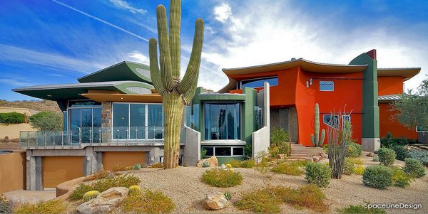 Scottsdale Desert Home, south facade with large shady over hangs and deep set front entry with gentle water fall at outdoor entry landing. Photo 19 of Scottsdale Desert Home modern home