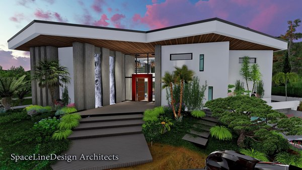 The Main Entry is usually the most majestic point of any home, here we have our trademark deeply recessed Entry Foyer with twin gentle water falls and a spectacular red leather wrapped entry door-surround with massive bronze pivot door to  welcome the visitor.  Photo  of Majorca Vacation Villa modern home