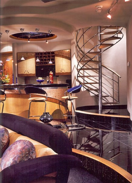 Stainless Steel Spiral Stair, stone treads & leather bottoms. Photo 4 of Biltmore Deluxe Cabana modern home