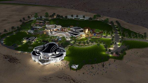 Aerial showing new oasis in desert Photo 2 of Desert Villa Spa Retreat modern home