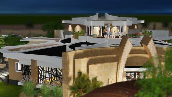 Access to roof terrace is from Grand Master BR or by elevator. Photo 6 of Desert Villa Spa Retreat modern home