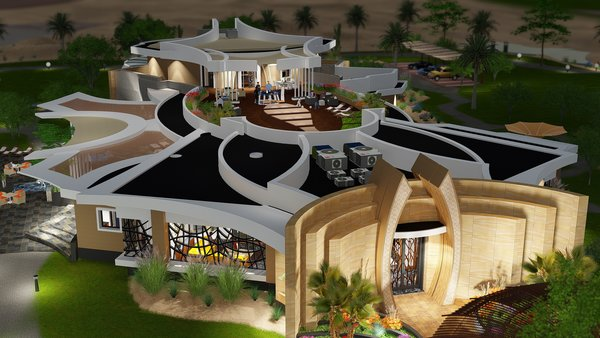 Here you can see the roof terrace and skylights over indoor pool. Photo 5 of Desert Villa Spa Retreat modern home