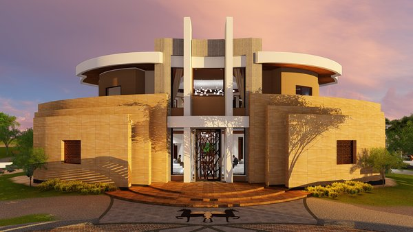 Layered convex sandstone walls here echo the Main Entry facade at opposite end of building.  Photo 12 of Desert Villa Spa Retreat modern home