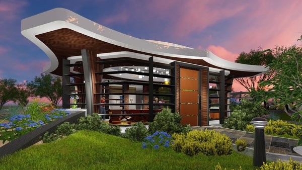 Massive roof overhangs with wood soffit effectively blocks the sun.  Photo 3 of Free-Standing Desert Dining Suite modern home