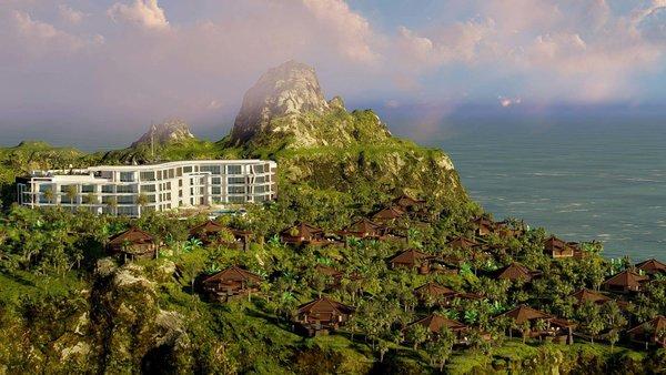 Balangan Vistas Resort Hotel on sloping site overlooking Indian Ocean.  Photo  of Balangan Vistas Resort Hotel and Villas modern home