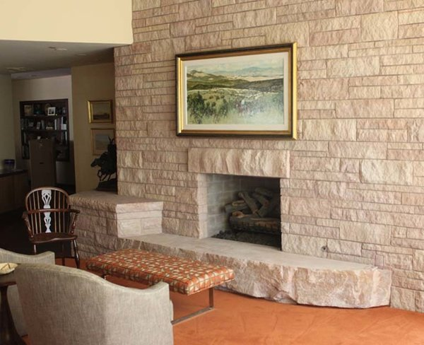 Fireplace and stone hearth Photo 7 of Arcadia House modern home