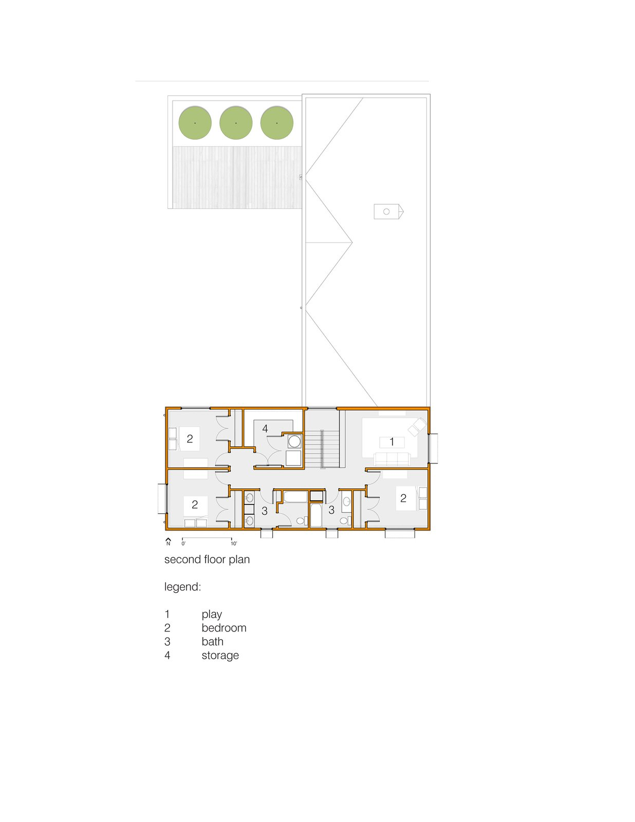 Second Floor Plan  House for Five by tim michael