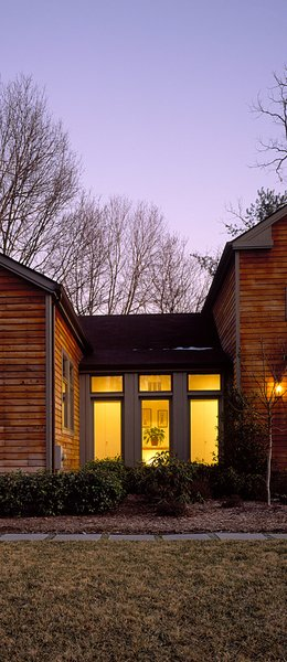 Modern home with windows, picture window type, and wood. Photo  of Copper Steel & Cherry
