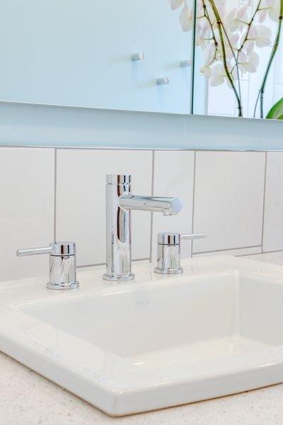 Modern home with bath room, drop in sink, and subway tile wall. Terra Linda bathroom remodel Photo 6 of Terra Linda Bathroom Remodel