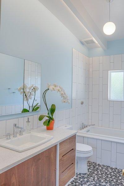 Modern home with bath room, ceramic tile floor, drop in sink, pendant lighting, and subway tile wall. Terra Linda bathroom remodel Photo 5 of Terra Linda Bathroom Remodel