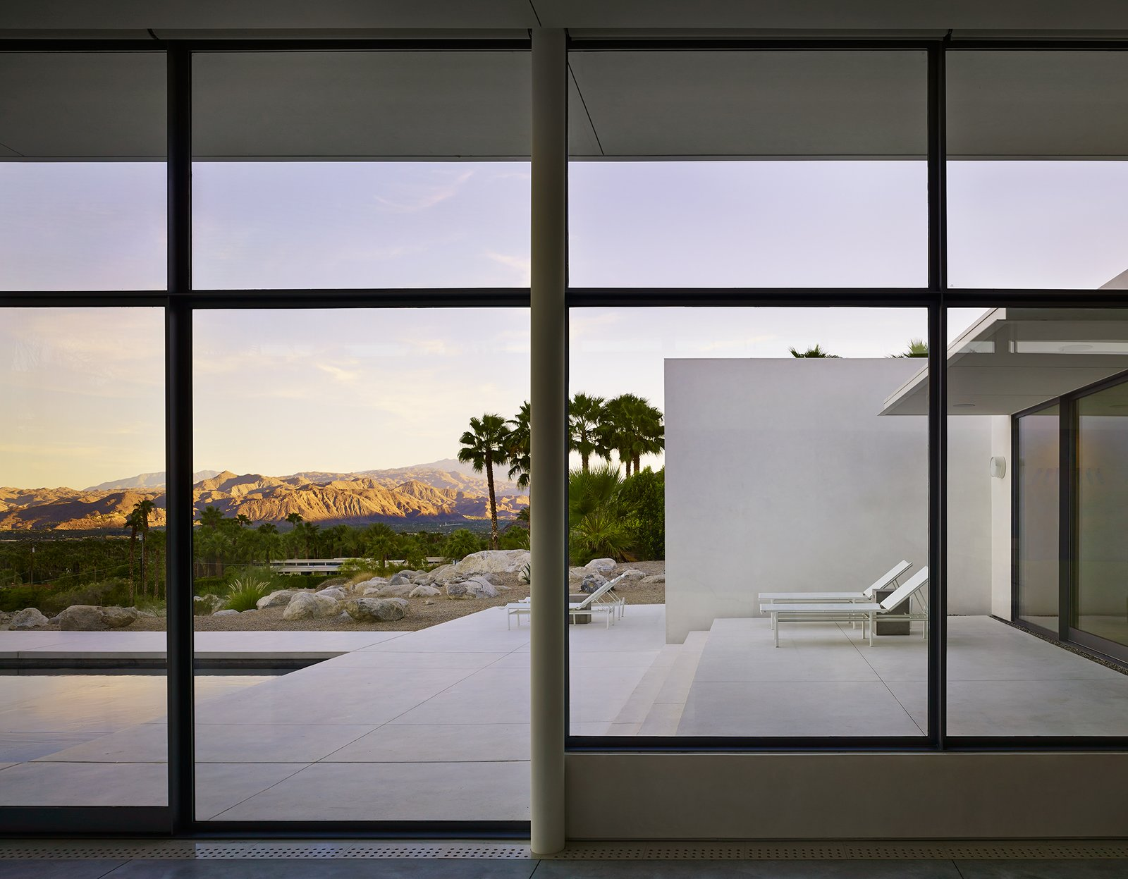 View From Living Room onto Front Terrace Palm Springs House by Booth Hansen