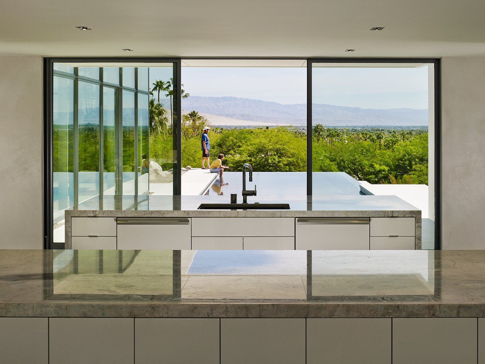Kitchen View  Palm Springs House by Booth Hansen