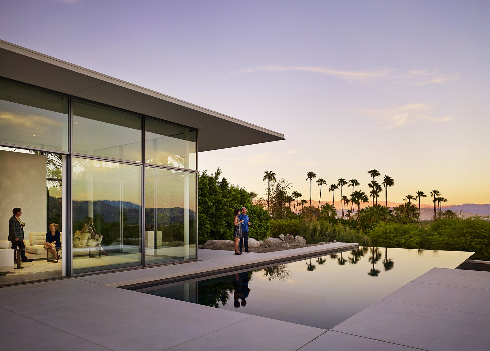 Front Terrace at Dusk  Palm Springs House by Booth Hansen
