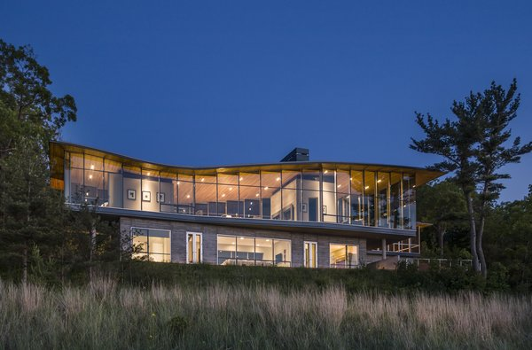 View From Lake Michigan Photo  of Beverly Shores Residence modern home