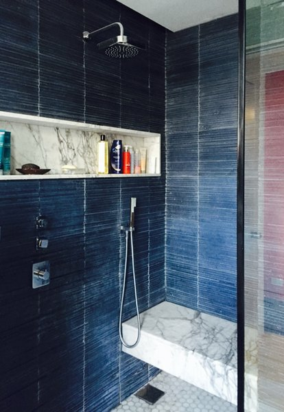 Textured blue concrete and marble shower Photo 2 of At Home With Art modern home