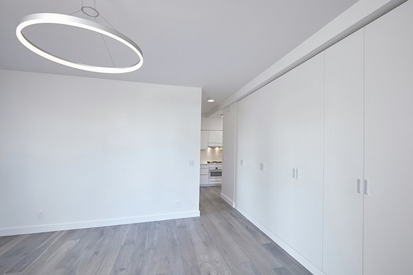 Modern home with living room, pendant lighting, and medium hardwood floor. Photo 8 of White on White Apartment