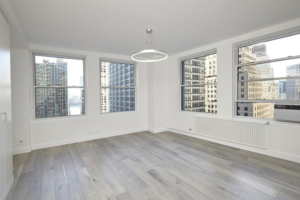 Modern home with living room, pendant lighting, and medium hardwood floor. Photo 7 of White on White Apartment