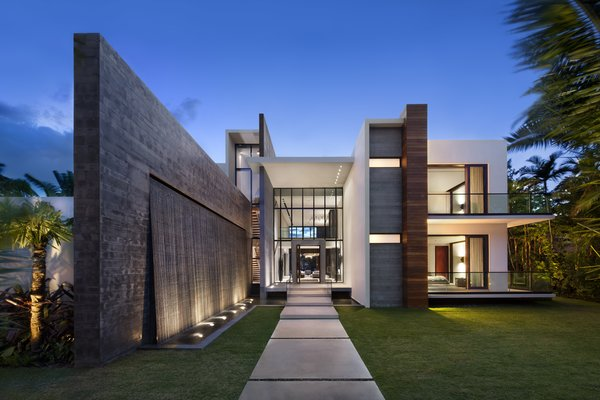 Front entrance featuring cascading water wall Photo 8 of Casa Clara modern home