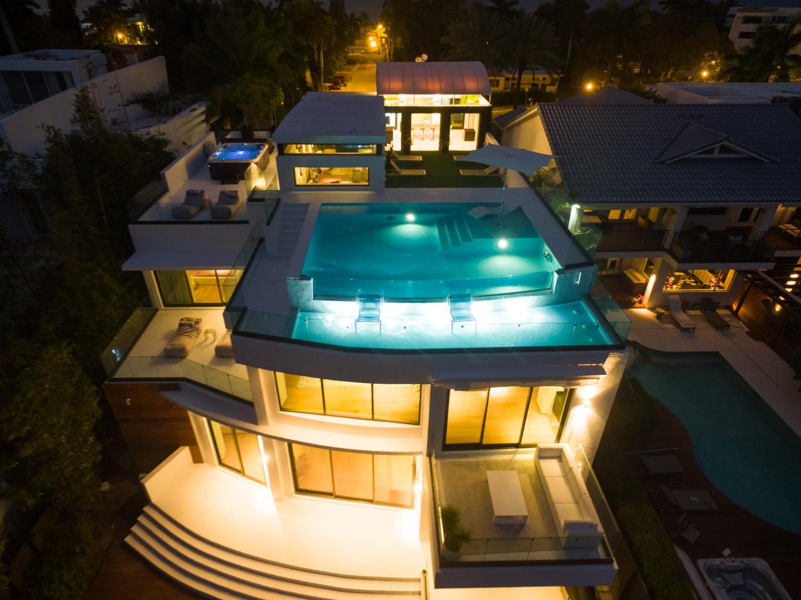 Exterior Rear Residence at Night  Villa Venetian by Choeff Levy Fischman