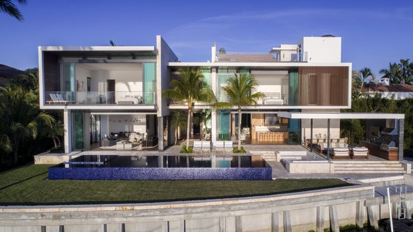 The rear of the home as seen from Biscayne Bay. Photo 11 of Casa Ischia modern home