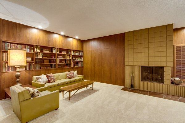 Preserved-In-Time Wood-Paneled Family Room With Cinder Block Hearth  Photo 2 of A Fabulous Mid-Century Modern Home modern home