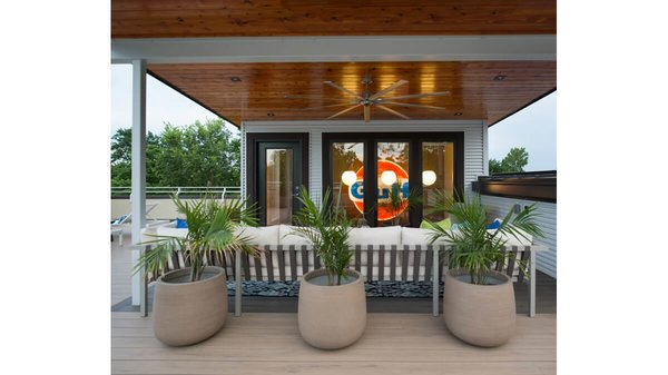 Outdoor entertaining space on the second floor roof. Photo 2 of Artistically Modern modern home