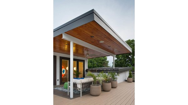 Outdoor entertaining space on the second floor roof. Photo 3 of Artistically Modern modern home