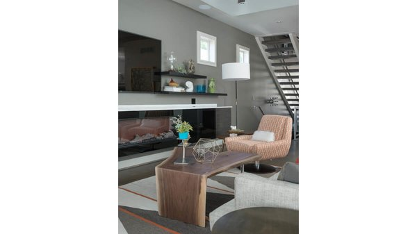 Living area with built-in fireplace. Photo 11 of Artistically Modern modern home