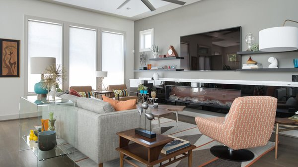 Living room with built-in fireplace. Photo 12 of Artistically Modern modern home