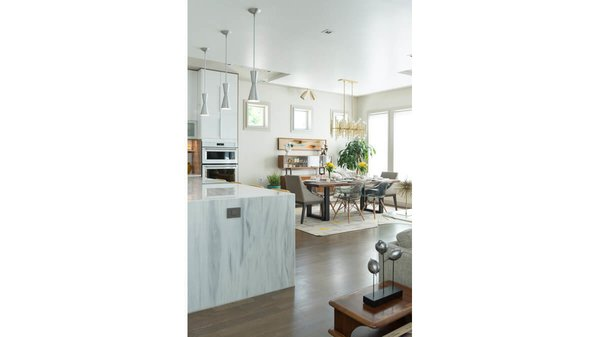 Dining area and open kitchen. Photo 14 of Artistically Modern modern home