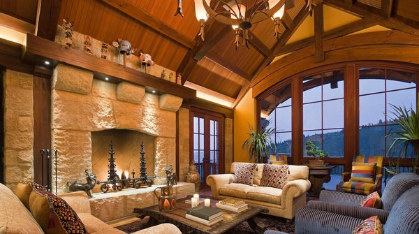 Great room with mountain view and fireplace. Photo  of Park City Ski Retreat modern home