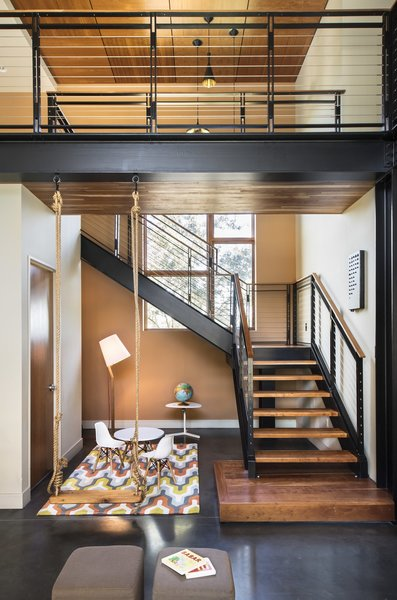 """Durability and livability were two important considerations while designing the home.  Creating a modern home that allowed space for the children's mess (Legos) was important. """"We never want the house to feel like a cold or hands off museum."""" Photo 17 of 1600 Lakeside modern home"""