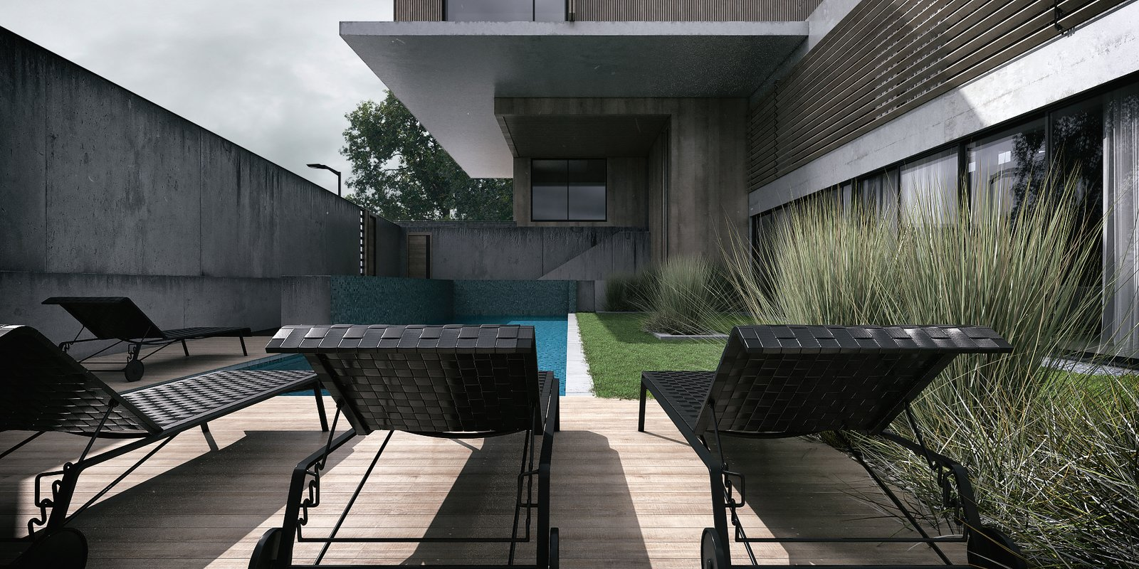 Pool Area   Monochrome Veil by Lines Design Creation and Consultancy