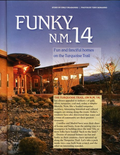 Article from 2007 New Mexico Magazine Photo 7 of Picture Rock Studio-Round Strawbale Home design & built by Glen Neff modern home
