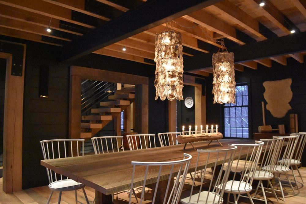 Seating for 12, Oak and Steel, Wide Plank Oak Floors, Custom Mill, Wood Panel Walls, Exposed Structure, Industrial Strength, Oak Plank Table, Open Oak and Steel Stairs, Blown Glass Lights, Cedar Log Candle Stand, Timber Frame Hammers, Kef In home stereo, low voltage tech lighting throughout