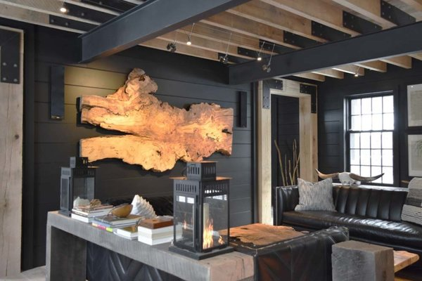 """Exposed Oak and Steel Frame.  Large silver Maple slab for display, lanterns, low voltage lighting, leather seating/sofas from """"Of Iron & Oak"""", huge oak passage ways, Kef stereo systems. Photo 7 of The Lodge modern home"""