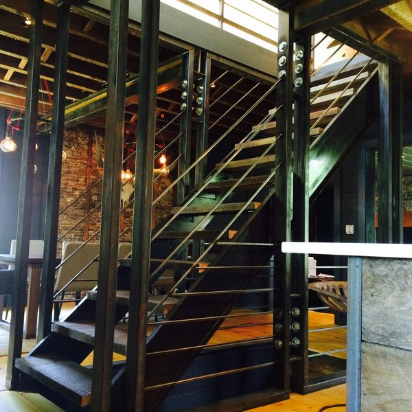 Steel and Oak Staircase  Photo 3 of The Hut modern home