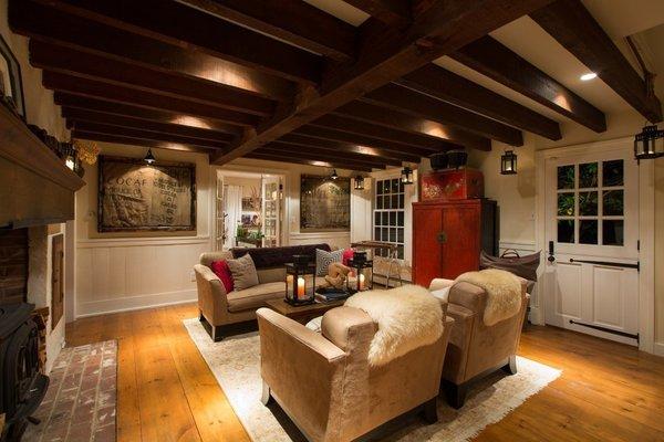 Douglas Fir Beams, Pumpkin Pine Flooring, Wide Plank Flooring, Jotul Stove, Dutch Door, Lanterns, Cozy Living Photo 4 of The Salt Box modern home