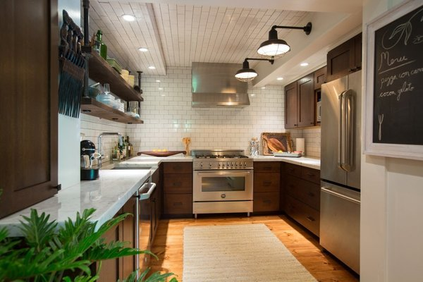 Country Kitchen, Farmhouse Cooking, Pumpkin Pine Floors, Subway Tiles, Barn Lights, Chaulk Board, Open Shelves Photo 5 of The Salt Box modern home