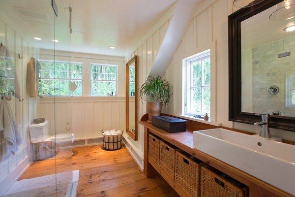 Antique Pine Vanity, Pumpkin Pine Floors, Wide Plank Floors, Seamless Glass Shower, Wood Wall Panels Photo 6 of The Salt Box modern home