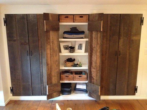 Reclaimed Oak Doors, Pumpkin Pine Floors, Closet. Open Sheves Photo 7 of The Salt Box modern home