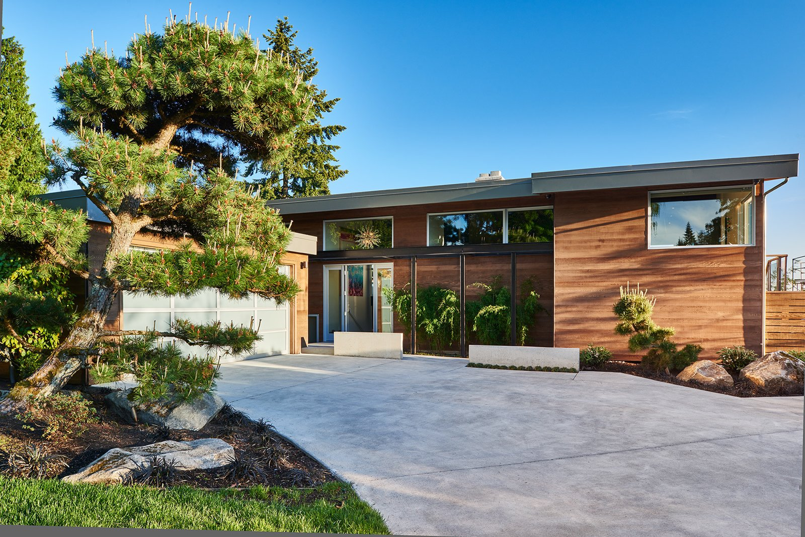 Mid-century, remodeled exterior
