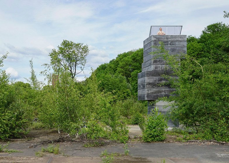 German architecture studio, Modulorbeat, stacked concrete volumes normally used for mine shafts to create a tower housing a tiny sauna.  Photo 7 of 11 in Escape to One of These 10 Otherworldly Outdoor Saunas from Saunas