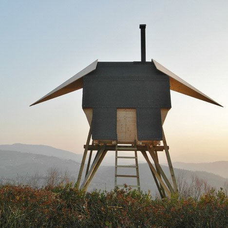 Milan studio AtelierFORTE envisioned a sauna in the northern Italian countryside that has wings like a bird.  Photo 5 of 11 in Escape to One of These 10 Otherworldly Outdoor Saunas from Saunas