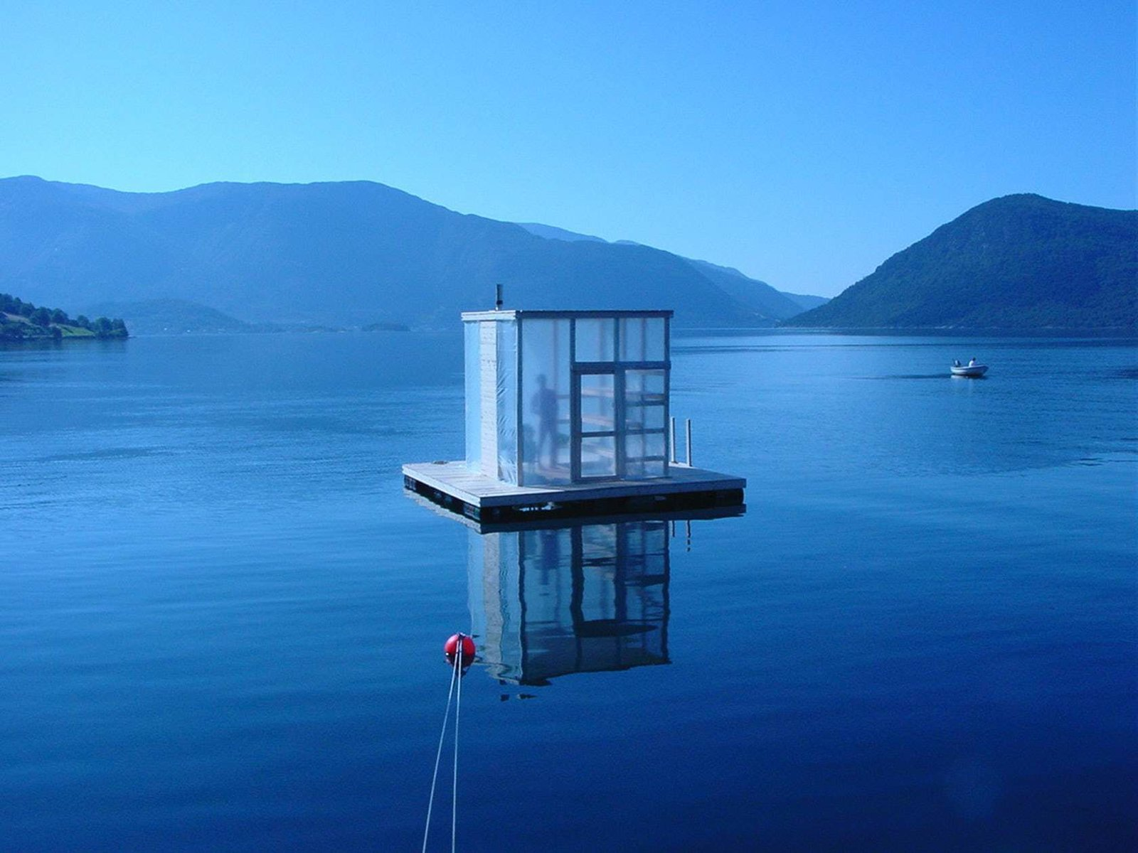 Designed by Marco Casagrande, this floating sauna was a gift for the Rosendal community, a village at the end of the majestic Hardangerfjord in Norway.  Photo 3 of 11 in Escape to One of These 10 Otherworldly Outdoor Saunas from Saunas
