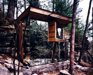 Escape to One of These 10 Otherworldly Outdoor Saunas - Photo 3 of 10 - The Cadyville Sauna was the primary source of inspiration for the firm's research on the history and theory of architecture and camouflage.